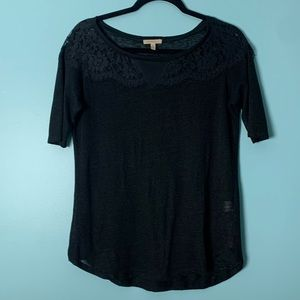 ANTHROPOLOGY Black Scalloped Lace Linen Blouse Top